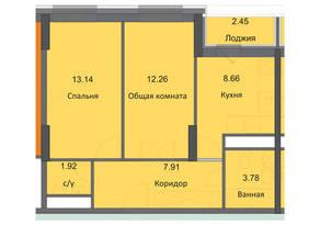 ЖК «Циолковский», планировка 2-комнатной квартиры, 50.12 м²