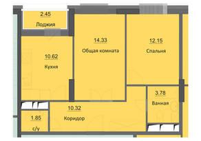 ЖК «Циолковский», планировка 2-комнатной квартиры, 55.50 м²