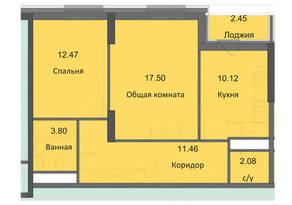 ЖК «Циолковский», планировка 2-комнатной квартиры, 59.88 м²