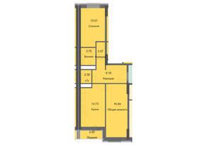ЖК «Циолковский», планировка 2-комнатной квартиры, 65.05 м²