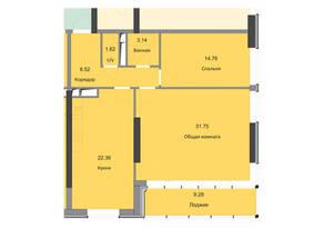 ЖК «Циолковский», планировка 2-комнатной квартиры, 91.43 м²