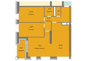 ЖК «Циолковский», планировка 3-комнатной квартиры, 90.08 м²