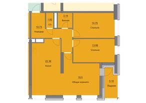 ЖК «Циолковский», планировка 3-комнатной квартиры, 90.13 м²
