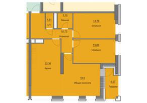 ЖК «Циолковский», планировка 3-комнатной квартиры, 90.04 м²