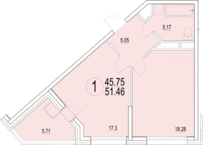 ЖК «Солнечная долина», планировка 1-комнатной квартиры, 51.46 м²
