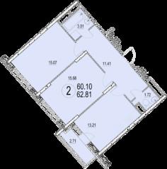 ЖК «Солнечная долина», планировка 2-комнатной квартиры, 62.81 м²