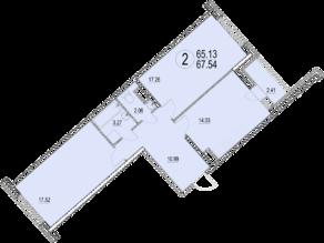 ЖК «Солнечная долина», планировка 2-комнатной квартиры, 67.54 м²