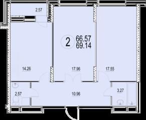 ЖК «Солнечная долина», планировка 2-комнатной квартиры, 69.14 м²