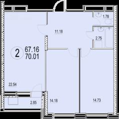 ЖК «Солнечная долина», планировка 2-комнатной квартиры, 70.01 м²