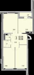 ЖК «Солнечная долина», планировка 3-комнатной квартиры, 85.86 м²