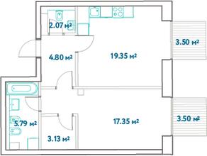 ЖК «LEVEL Barvikha Residence», планировка 1-комнатной квартиры, 54.59 м²