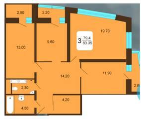 ЖК «Москвич», планировка 3-комнатной квартиры, 83.35 м²