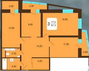 ЖК «Москвич», планировка 3-комнатной квартиры, 81.30 м²