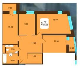 ЖК «Москвич», планировка 3-комнатной квартиры, 80.65 м²