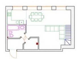 МФК «Loft Factory», планировка 1-комнатной квартиры, 35.10 м²