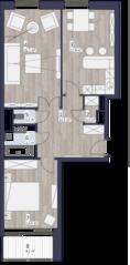 ЖК «Кварта», планировка 2-комнатной квартиры, 76.45 м²