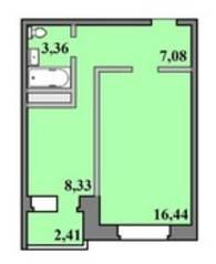 ЖК «Пустовский», планировка 1-комнатной квартиры, 37.62 м²