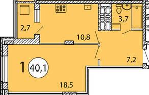 ЖК «Президентский», планировка 1-комнатной квартиры, 40.10 м²