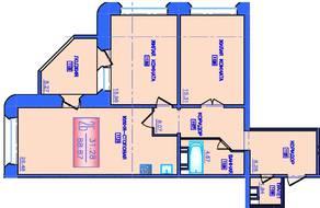 ЖК «Лесные озера», планировка 2-комнатной квартиры, 88.87 м²