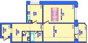 ЖК «Лесные озера», планировка 2-комнатной квартиры, 78.91 м²