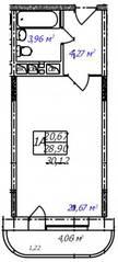ЖК «Олимп-3», планировка студии, 30.12 м²