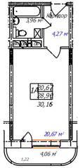 ЖК «Олимп-3», планировка студии, 30.16 м²