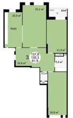 ЖК «Квартал 38А», планировка 3-комнатной квартиры, 137.80 м²