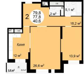 ЖК «Квартал 38А», планировка 2-комнатной квартиры, 79.80 м²