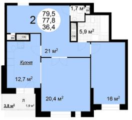 ЖК «Квартал 38А», планировка 2-комнатной квартиры, 79.50 м²