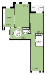 ЖК «Квартал 38А», планировка 3-комнатной квартиры, 117.30 м²