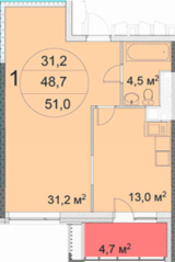 ЖК «Квартал 38А», планировка 1-комнатной квартиры, 51.00 м²