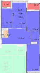 ЖК «Квартал 38А», планировка 3-комнатной квартиры, 115.50 м²