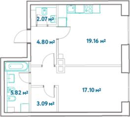 ЖК «LEVEL Barvikha Residence», планировка 1-комнатной квартиры, 52.04 м²