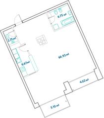 ЖК «LEVEL Barvikha Residence», планировка 2-комнатной квартиры, 84.60 м²
