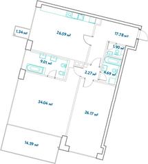 ЖК «LEVEL Barvikha Residence», планировка 3-комнатной квартиры, 127.31 м²