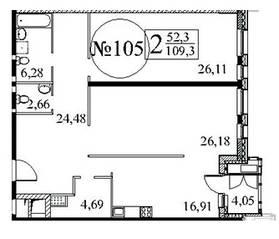 ЖК «Квартал 38А», планировка 2-комнатной квартиры, 109.20 м²