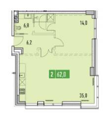 ЖК «Фили Парк», планировка 2-комнатной квартиры, 62.00 м²