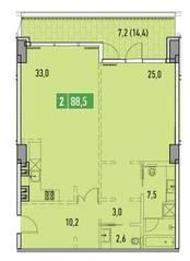 ЖК «Фили Парк», планировка 2-комнатной квартиры, 88.50 м²