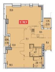 ЖК «Фили Парк», планировка 3-комнатной квартиры, 98.90 м²