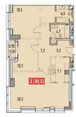 ЖК «Фили Парк», планировка 3-комнатной квартиры, 88.55 м²