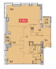 ЖК «Фили Парк», планировка 3-комнатной квартиры, 99.00 м²