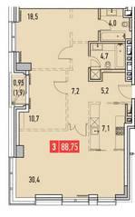 ЖК «Фили Парк», планировка 3-комнатной квартиры, 88.75 м²