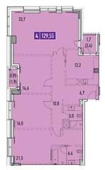 ЖК «Фили Парк», планировка 4-комнатной квартиры, 129.55 м²