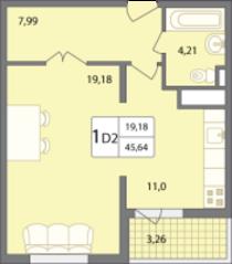 ЖК «Солнечный» (Раменское), планировка 1-комнатной квартиры, 45.64 м²