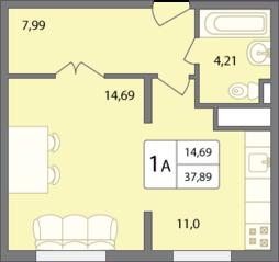 ЖК «Солнечный» (Раменское), планировка 1-комнатной квартиры, 37.89 м²