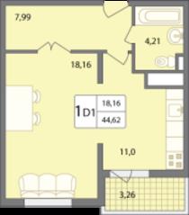 ЖК «Солнечный» (Раменское), планировка 1-комнатной квартиры, 44.62 м²
