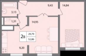 ЖК «Солнечный» (Раменское), планировка 2-комнатной квартиры, 52.86 м²