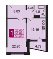 ЖК «на ул. Дубки», планировка 1-комнатной квартиры, 53.46 м²