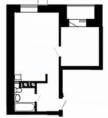 МФК «Отрада-апарт», планировка 1-комнатной квартиры, 42.50 м²