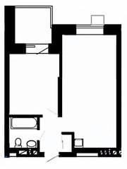 МФК «Отрада-апарт», планировка 1-комнатной квартиры, 46.60 м²